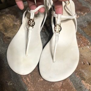 Tory Burch white thong wedge sandals